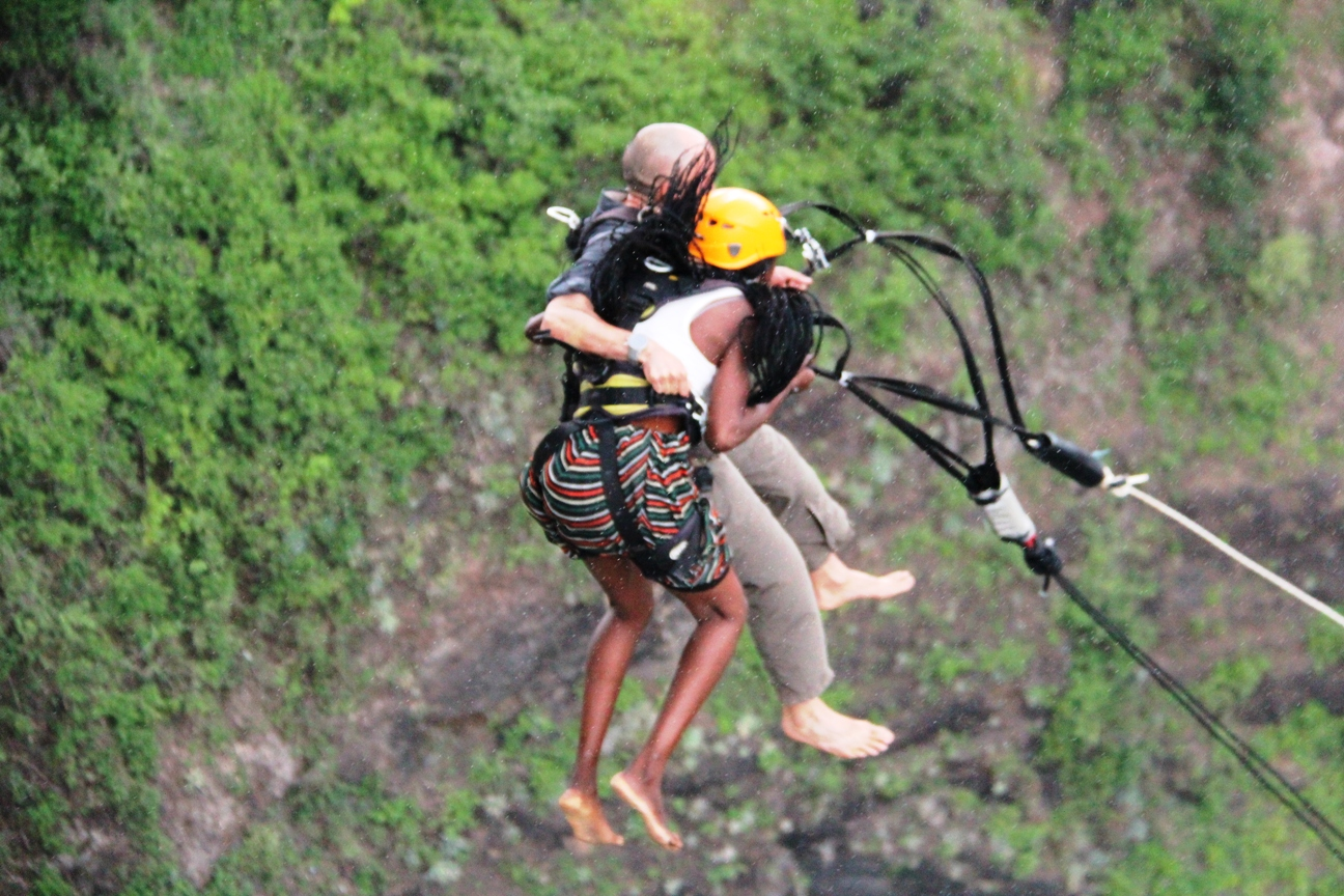 Freefall is 100 meters on Victoria Falls Swing