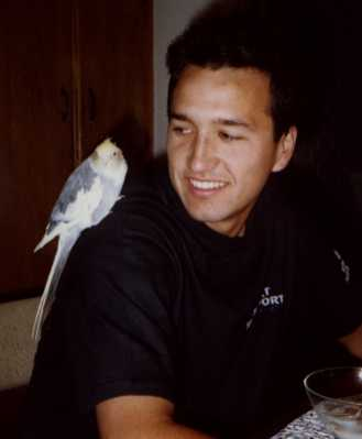 Aug 30, 1989 (I'm 19 years old) Sitting in the kitchen with Condorito.
