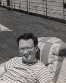 Feb 2, 1955.   My 25-year old dad relaxing under the sun on a boat going to the USA from Argentina.