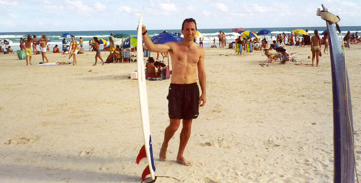 Jan 2004: Don't think for a second that I know how to surf. I may have been born and raised in California, but I suck at surfing. I proved it in Brazil. It was the first time I tried this sport, and I was so bad! I only got on the board about three times in 30 minutes. I'll stick to volleyball.