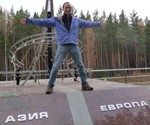 The Europe and Asia Border near Yekaterinburg (Ekaterinburg) in Russia. Francis Tapon stands on the border that divides the Asian and European continents. It is the eastern most point of Europe, deep in Russia, about an 18 hour train ride EAST of Moscow. It just goes to show how far Eastern Europe really goes. Taken in Russia in late 2008.