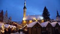 Tallinn's Town Hall square - Raekoja Plats - in Estonia during the holidays season in 2008