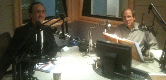 Michael Krasny and Francis Tapon at KQED's Forum studio in San Francisco
