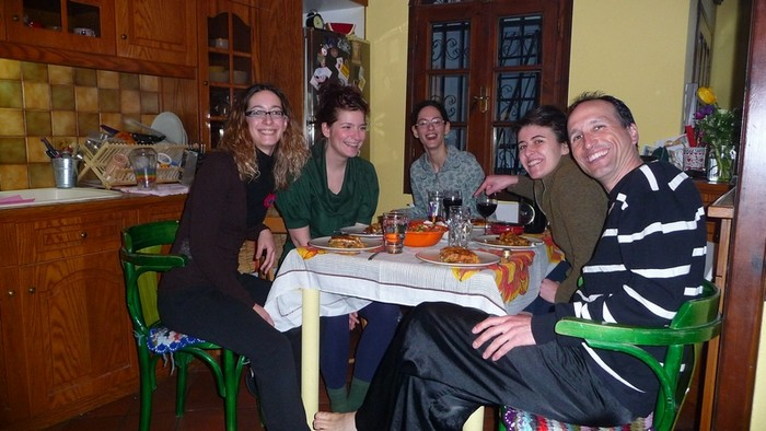 Being a good couchsurfing host involves giving back to your host, not just with kindness and respect, but also economically. These 4 Greek girls hosted me in Thessaloniki. They cooked big dinners every day while I was with them. To thank them I bought $100 of food, including a 5-liter bottle of olive oil.