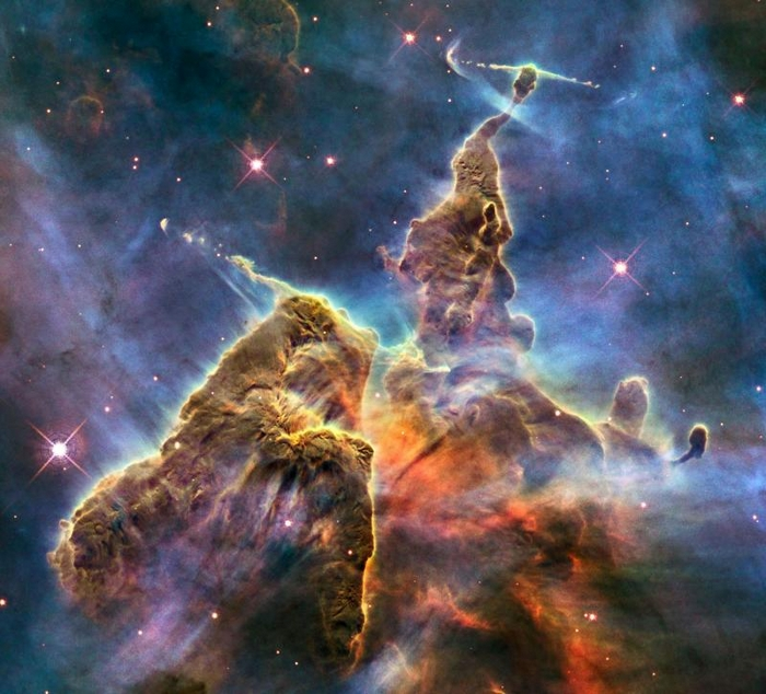 The entire Carina Nebula spans over 300 light years and lies about 7,500 light-years away in the constellation of Carina