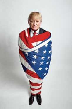 Trump wrapped in flag of democracy by NYMag.com