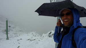 I had a $5 umbrella in the Pyrenees, but it still helped protect me when the rain turned to slow as I climbed higher.