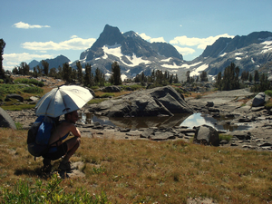 Taking a break with the umbrella at Banner Peak on the JMT/PCT