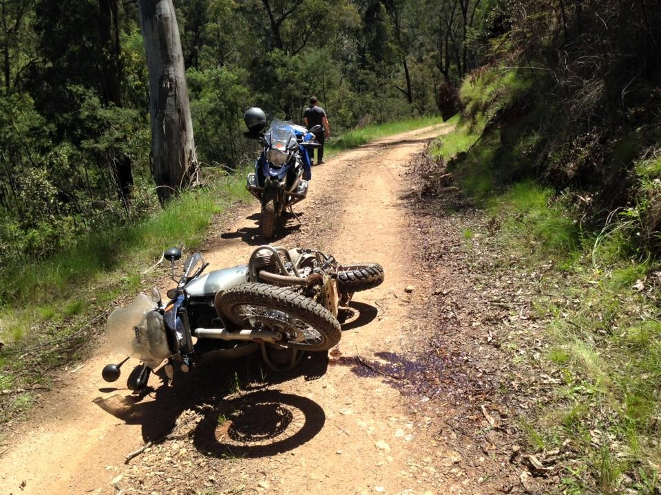 Dirt Road WIpeout on a Motorcycle