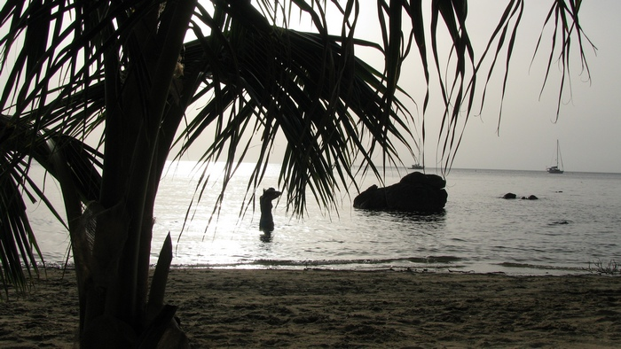 Silouette on the beach in Honduras