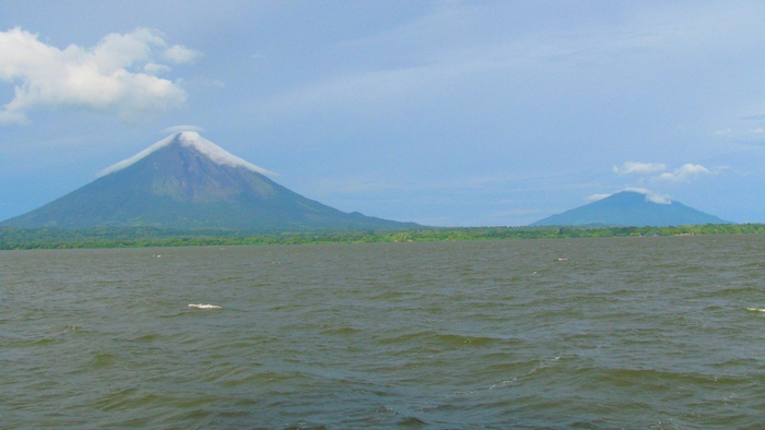 Ometepe island with two volcanos, Nicaragua. I climbed the one of the left. It had the same lenticular cloud that it has here. It's called Concepcion, I believe.