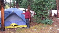 It rained nonstop for 12 hours and I got to sleep in this huge tent. I had a cot inside and was toasty!