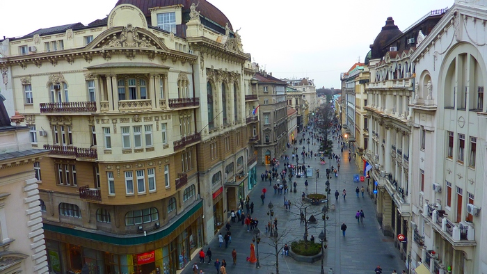 Knez Mihailova (Prince Michael), the main pedestrian street in Belgrade. Photo by Francis Tapon