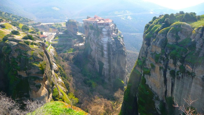 "Meteora, Greece has several surreal monasteries. They look more like Dali painting than real. You stare at them wondering, ""How do monks get up there? Do they ever come down?"""