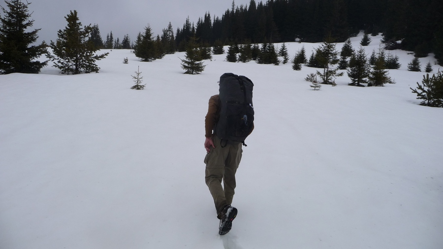 Francis Tapon hiking in snow-covered Rhodopes Mountains in Bulgaria
