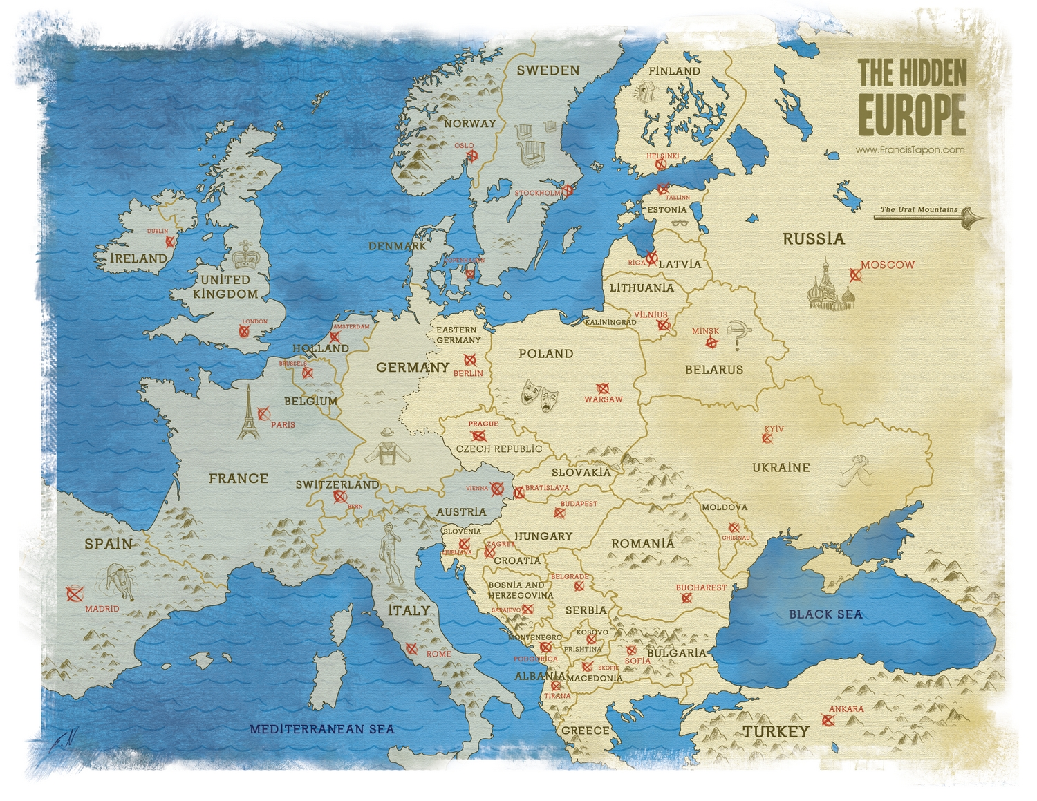 Where is eastern europe and what countries are in it the hidden eastern europe map from francis tapons book the hidden europe gumiabroncs Image collections