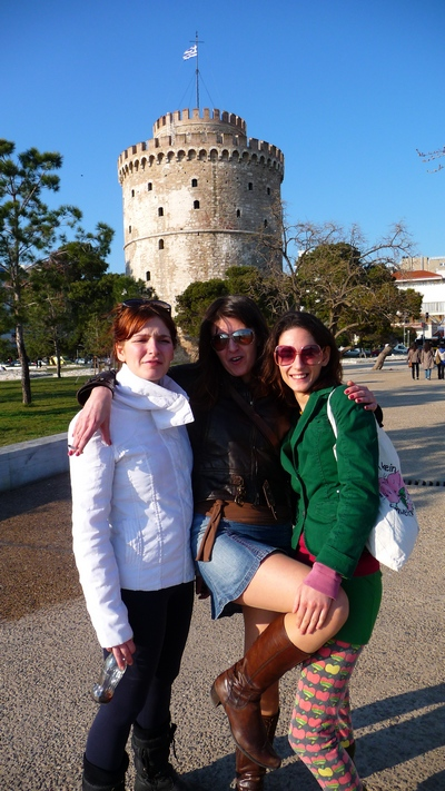 Left to right: Niki, Maria, and Irini at the Thessaloniki tower