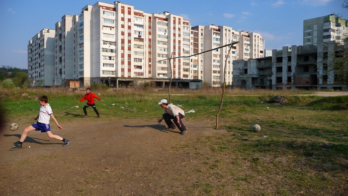 Francis trying to stop a soccer goal in Rîbnița, Moldova