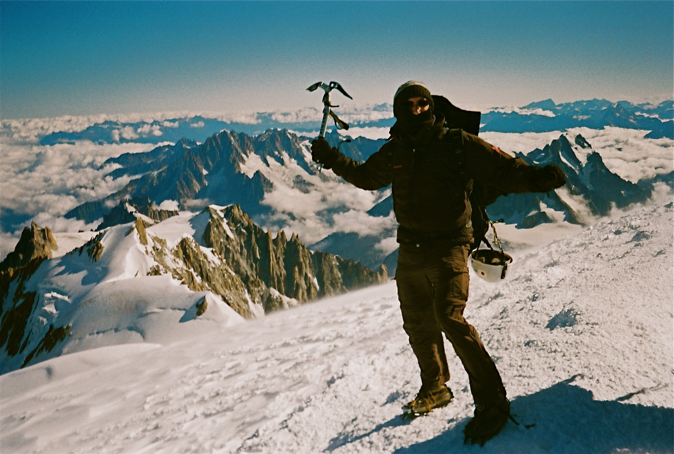 Francis Tapon on the summit of Mont Blanc 4,810 meters (15,781 feet).
