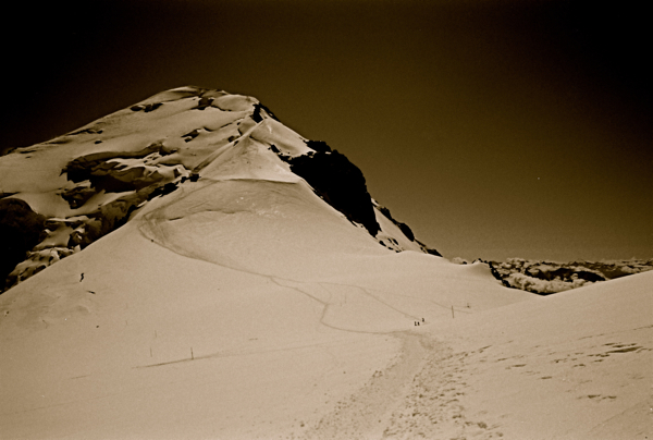 Footprints up Mont Blanc