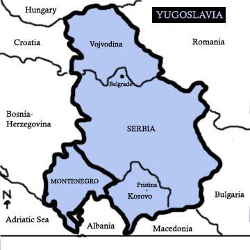 Republic of Serbia map in 1974 Yugoslavia. Shows Kosovo and Vojvodinja.