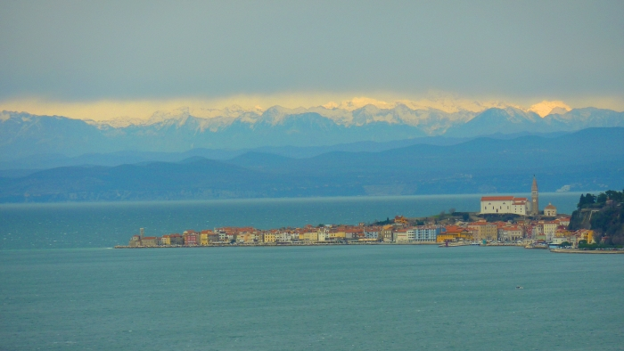 Old Town of Piran, Slovenia with Julian Alps in background