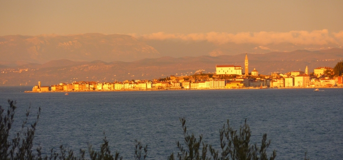 Golden sunset over Piran, Slovenia