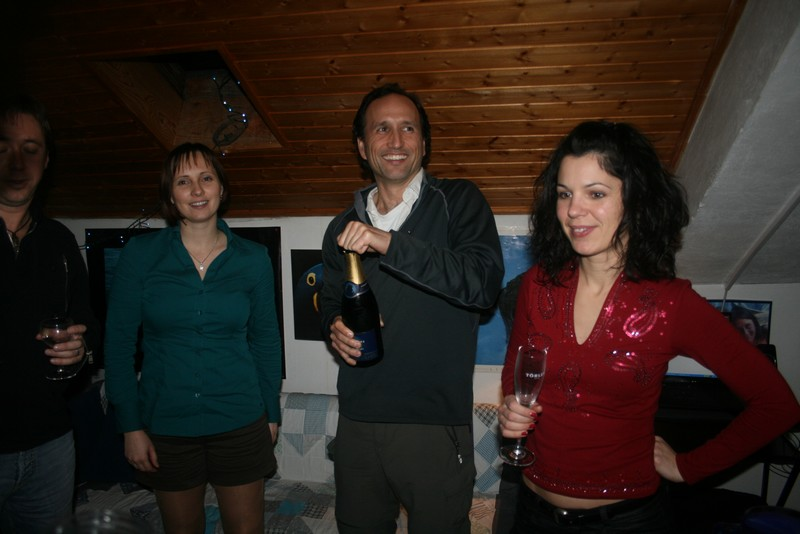 Seconds before 2010 arrived, I was given the honors of popping the champagne!