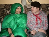 Francis Tapon and Benny Hill in costume party in Parnu, Estonia.