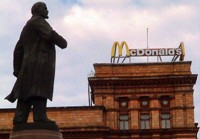 In Dnipropetrovsk the McDonalds sign looks down on Lenin, symbolic of the winds of change hitting Ukraine. I thought this would make a cool photo.