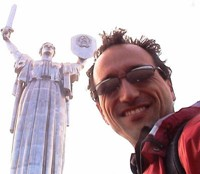 I don't know what happened to my hair when I stood under this statue in Kyiv (Kiev).