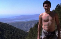 As the temps soared, Marcos shed his shirt. Here he's nearly at the top of the mountain.