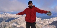 Woo-hoo!!! Standing on Mt. Triglav, the tallest mountain in Slovenia! The summit of the Julian Alps!