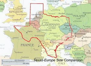Texas map over Europe: this should humble the French. BTW, Germany is the size of Montana.
