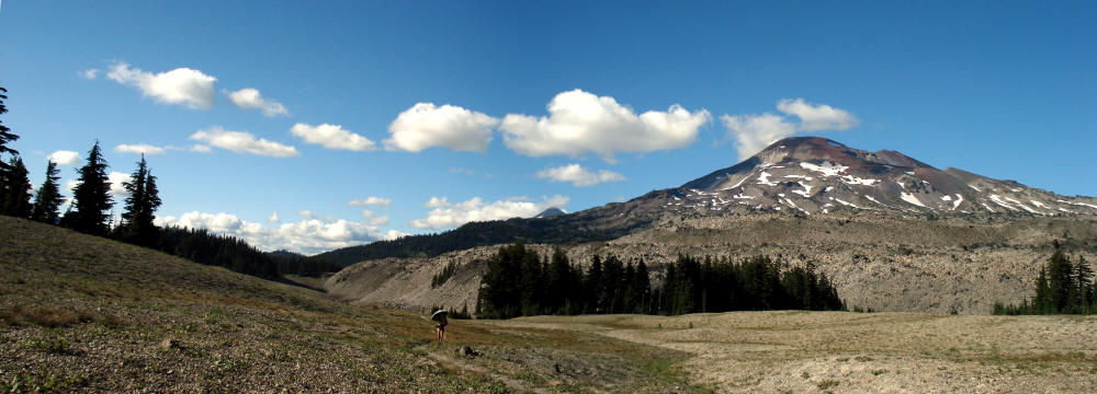 This panorama of the Three Sisters Wilderness in Oregon shows off the South Sister. I wanted to climb it, but we would have been descending it in the darkness. I'm walking with my umbrella at my regular pace of under three miles per hour. As slow as that is, Washington and Oregon went by so quickly.