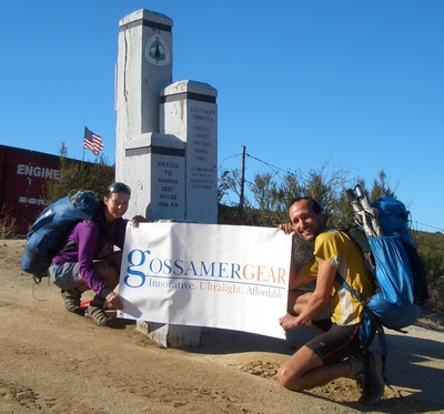 Gossamer Gear banner in Campo, the southern terminus of the PCT. It was the end of our southbound journey! make sure you truly believe in whatever products you want to sponsor you or else you will dislike posing for a banner shot. Luckily, I love Gossamer Gear.