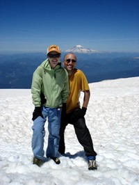 From the 12,200 foot summit of Mt. Adams you can see Mt. Rainier in the background, which we had climbed a couple of years before. Notice my sneakers, ideal mountaineering footwear.