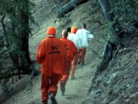 How would you feel if you saw these guys running toward you in the middle of the San Bernardino Mountains?! Fortunately, they weren't escapees. They're prisoners in a minimum security prison who get this daily workout as a special privilege. They were all very nice to us and sold us some crack.