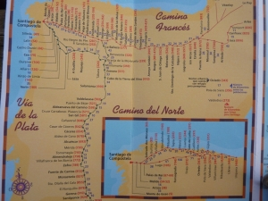 El Camino Santiago map with El Camino Frances, Camino del Norte, and Via de la Plata - Way of St. James or Chemin St. Jacques