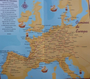 El Camino Santiago - Caminos de Europa Map - Map of all the trails going to Santiago de Compostela