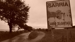 Sign for Sarria on El Camino Santiago