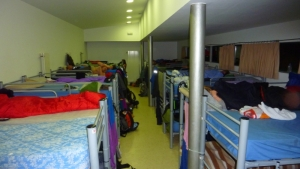 One of the two big sleeping rooms in the Albergue. There's always a few people who snore, so bring earplugs.