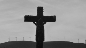 Jesus, cross, windmills in Spain's Camino Santiago
