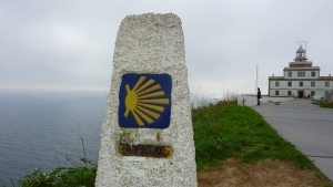 The final marker - 0.0 km. For hundreds of kilometers, these markers indicate your distance to Santiago. After Santiago, the markers restart at about 88 km and start counting down anew for those who want to do the voyage to the ultimate end. I smiled when I saw this marker.