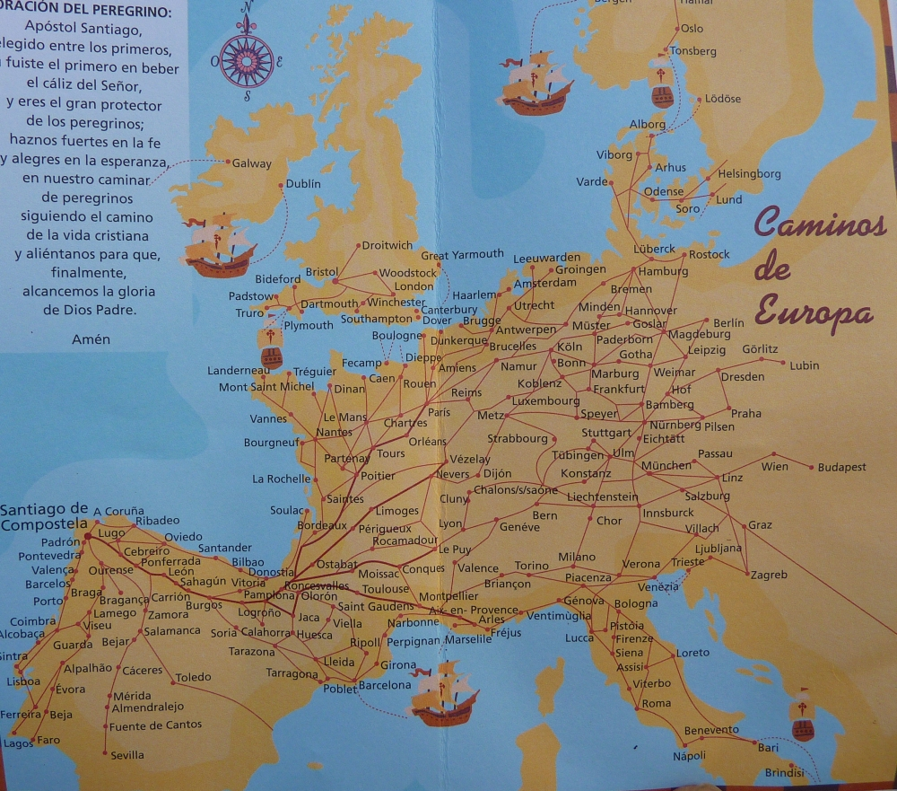 El Camino Santiago or the Way of St James | Spain Trails ... on camino santiago map, el camino map, middle ages pilgrimage map, camino trail map, camino pilgrimage map,